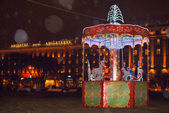 New year carousel in front of Angletterre hotel St. Petersburg R — Stock Photo
