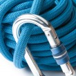 Climbing rope and karabiner — Stock Photo