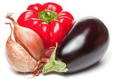 Onion, bellpepper and brinjal — Stock Photo