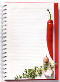 Blank notebook with fresh vegetables — Stock Photo