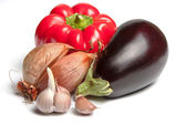 Onion, bellpepper, garlic and brinjal — Stock Photo
