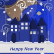 Happy New Year from a winter village Happy New Year from a winter village — Stock Photo