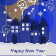 Happy New Year from a winter village — Stock Photo