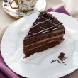 Delicious chocolate cake and tea — Stock Photo #19431365