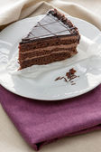 Slice of gourmet chocolate cake — Stock Photo