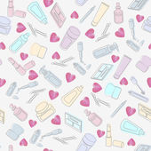 Cosmetics and beauty products with hearts — Stock Vector