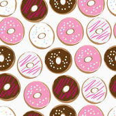Seamless background of assorted doughnuts — Stock Vector