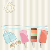 Summer ice cream at the seaside — Stock Vector