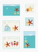 Summer themed postage stamps — Stock Vector