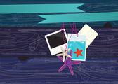 Foto, postkarte, textfreiraum und einige seesterne — Stockvektor