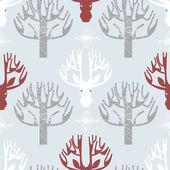 鹿和树木打印 — 图库矢量图片