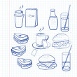 Stock Vector: Hand drawn outlines of food