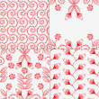 Illustration of four different floral patterns — Stock Vector #26329091