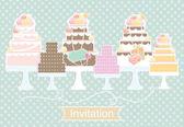 Invitation design with decorative cakes — Stock Vector