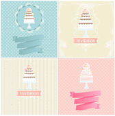 Set of invitation designs with cakes — Stock Vector