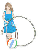 Girl with hula hoop, beach ball and skipping rope — Stock Vector