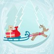 Reindeer pulling a sleigh with Christmas gifts — Stock Vector #31017881