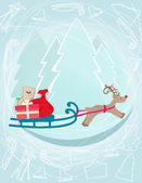 Reindeer pulling a sleigh with Christmas gifts — Stock Vector
