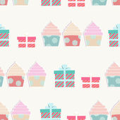 Birthday background with cupcakes and gifts — Stock Vector