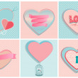 Set of romantic heart shapes — Stock Vector