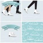 Set of ice skating illustrations — Stock Vector