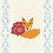 Happy Birthday card with a fox and flowers — Stock Vector