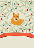 Little fox in a forest card design — Stock Vector