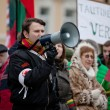 Speaker chanting slogans on the nationalist rally in Vilnius — Stock Photo