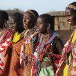 Masai Mara, Kenya - January 6: Maasai women in traditional cloth — Stock Photo #36179071
