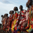 Stock Photo: Masai Mara, Keny- January 6: Maasai women in traditional cloth