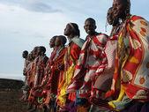 Masai Mara, Kenya - January 6: Maasai women in traditional cloth — Stock Photo