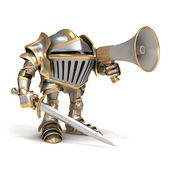 Knight with megaphone — Stock Photo