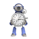 Robot with stopwatch — Stock Photo