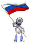 Robot with Russian flag — Stock Photo