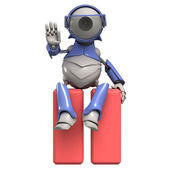 Pause icon and robot — Stock Photo