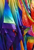 Tie dyed silk robes — 图库照片