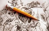 Pencil and doodles — Stock Photo