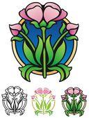 Floral emblem — Stock Vector