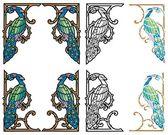 Peacock corner ornaments — Stock Vector