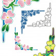 Tropical floral corner — Stock Vector