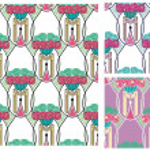 Art Nouveau wallpaper with peonies — Stock Vector