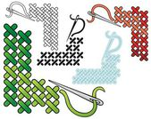 Cross stitch corners — Stock Vector