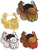 Art nouveau turkeys — Stock Vector