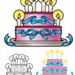 Stylized birthday cake — Grafika wektorowa