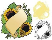 Sunflower scroll — Stock Vector