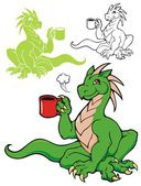 The Coffee Dragon — Stock Vector