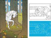 Forest Unicorn — Stock Vector