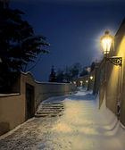 Prague - winter staircase to the castle — Stock Photo