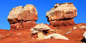 Twin Rocks of Capitol Reef Utah — Stock Photo