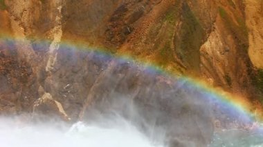 Rainbow at Lower Falls Yellowstone — Stock Video